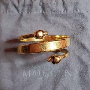 Alexander McQueen twin skull wrap bracelet / cuff